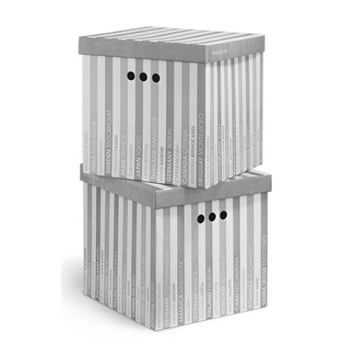 квадратная коробка для хранения в полосочку